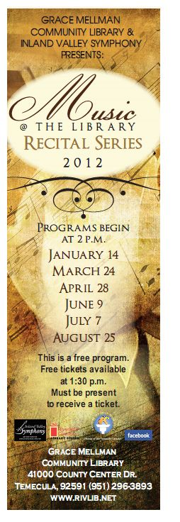 Bookmark with Recital Dates