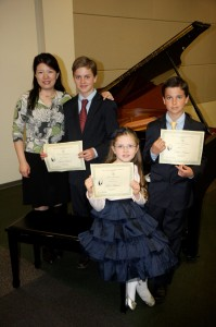 Hunter, Emma, and Hudson at Southern California Junior Bach Festival