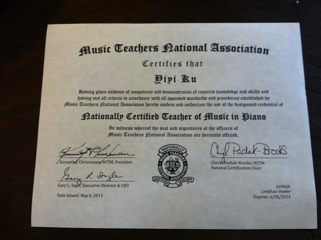 Mtna Professional Certification Yiyi Ku Piano Studio Murrieta Temecula