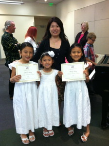 Rachel (on the left) with her sisters at the Sonatina Festival