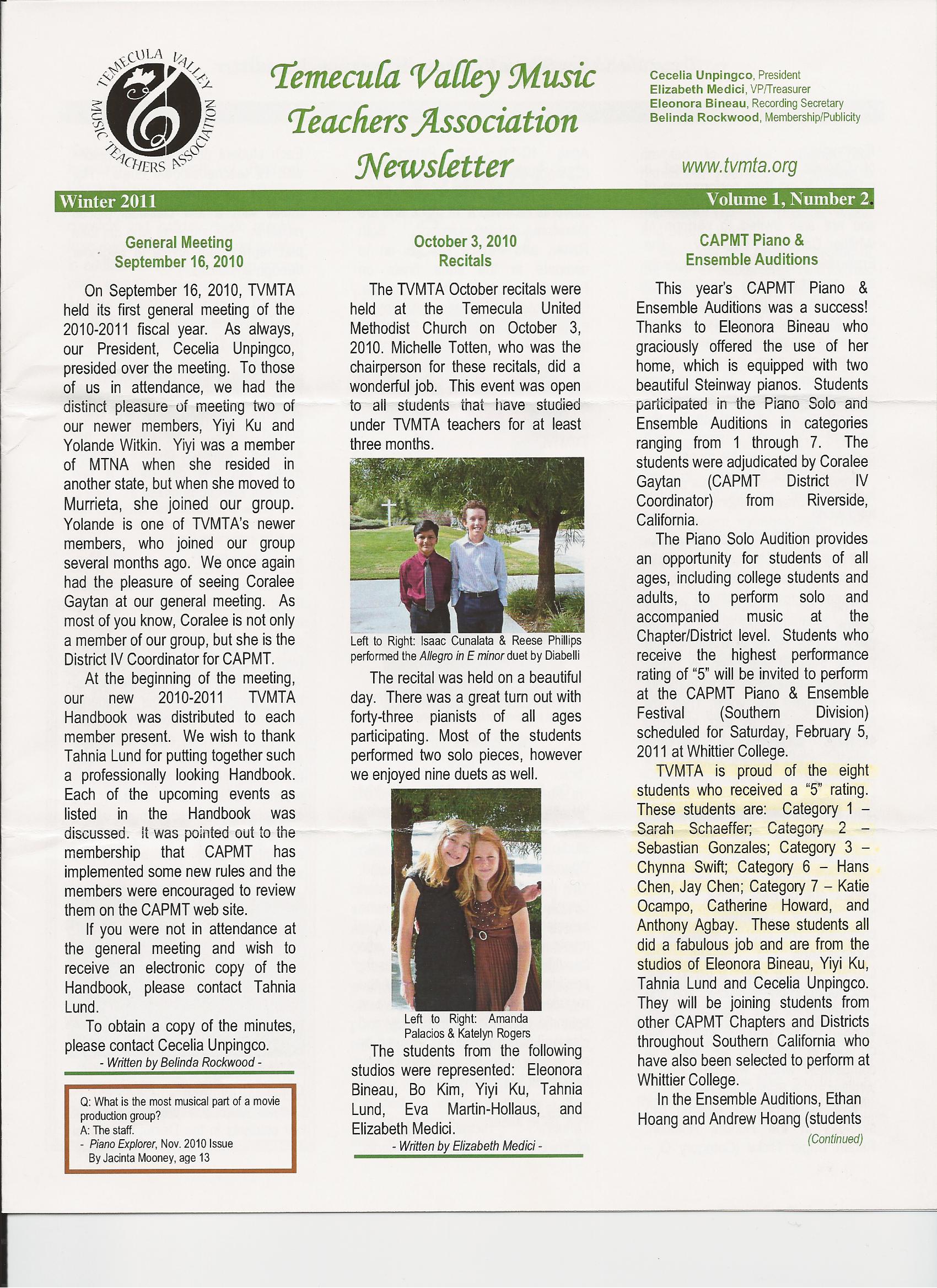 TVMTA newsletter